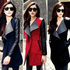 New Lady Long Warm Leather Sleeve Jacket Coat Trench