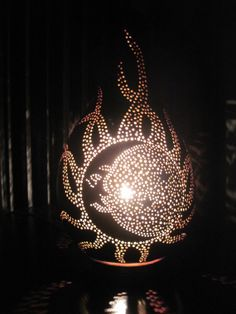 Handcrafted sun and moon gourd table lamp by tamiredding on Etsy, $75.00