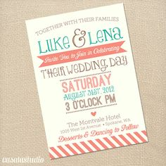 Rustic Vintage Turquoise & Coral Wedding Invite by casalastudio, $18.00