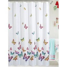 Butterfly Print Polyester Waterproof Bathroom Curtain