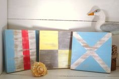 Nautical Flags on Canvas (with navy instead of baby blue)