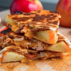 BBQ Chicken, Apple, Bacon & Cheddar Quesadillas Recipe