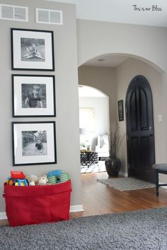 Playroom reading nook playroom gallery wall 3 black frames mini playroom picture wall front door view This is our Bliss Pinterest Baby, Basement Remodeling, Basement Plans, Basement Workshop, Basement Stairs, Basement Storage, Sunken Living Room, Playroom Furniture, Layout