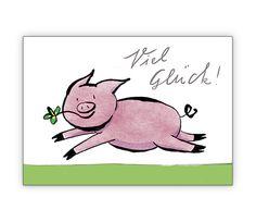 Glückwunschkarte mit Glücks Schweinchen - http://www.1agrusskarten.de/shop/gluckwunschkarte-mit-glucks-schweinchen/    00024_0_2737, Beistand Mut machen, Freunde Schwein, Grusskarte, Klappkarte, Motivation, Schweinchen00024_0_2737, Beistand Mut machen, Freunde Schwein, Grusskarte, Klappkarte, Motivation, Schweinchen