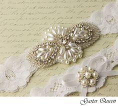 Wedding garter set White stretch lace Bridal Garter by GarterQueen, $44.99