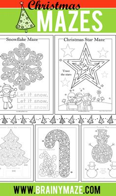 Christmas Mazes for Kids. Free printable Christmas mazes, star, snowflake, wise men, christmas tree, sleigh, ornament, snowman, stocking, bell, and more!