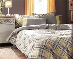 Custom Queen Size Grey and Yellow Checked Printed by MyveraLinen, $125.00