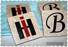 travertine tile coasters silhouette vinyl