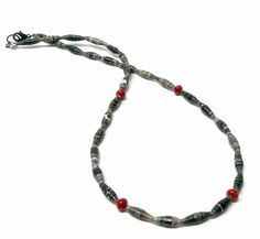 Mens African Hand Rolled Paper Bead and by myoceanbreezejewelry, $30.00