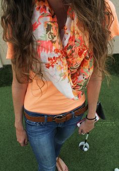 Lovely Colorful Casual Outfits Fashion With Floral Scarf- I have this scarf! It's from Charlotte Russe Beauty And Fashion, Look Fashion, Passion For Fashion, Fashion Outfits, Fasion, Teen Fashion, Nail Fashion, Fashion Pants, Spring Summer Fashion