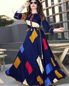 Blue Reyon Cotton With Block Printed Anarkali Floor Length Kurti Kurta Designs Women, Blouse Designs, Latest Kurti Designs, Frock Fashion, Fashion Dresses, Pakistani Dresses, Indian Dresses, Frock Style Kurti, Floor Length Kurti