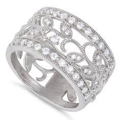 Sterling Silver Filigree Vine Cz Ring (Size 4 - 11) ** Check this awesome image @ http://www.amazon.com/gp/product/B00UG47EBS/?tag=ilikeboutique09-20&no=130816002249