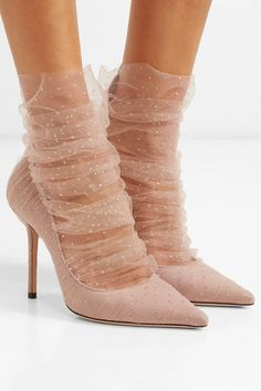 Jimmy Choo – Lavish 100 glittered tulle and suede pumps - shoes sport women Fashion Socks, Fashion Heels, Look Fashion, Womens Fashion, 50 Fashion, Modest Fashion, Fashion Styles, Fashion Tips, Suede Pumps
