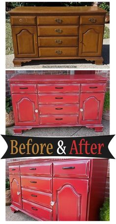 Worn out vintage maple cabinet given a new life in Barn Red & Black Glaze - Befo. - - Worn out vintage maple cabinet given a new life in Barn Red & Black Glaze – Before & After from Facelift Furniture 70s Furniture, Maple Furniture, Distressed Furniture, Paint Furniture, Repurposed Furniture, Furniture Making, Furniture Makeover, Vintage Furniture, Distressed Cabinets