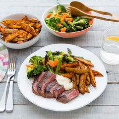 Beef with Kumara Wedges and Vegetable Toss