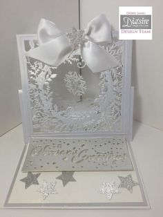 6x6 easel card made using Crafter's Companion Die'sire Christmas Create-a-Card Dies - Timeless Wreath. Designed by Debbie James #crafterscompanion