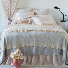 Bella Notte Linens Olivia Bed Throw, Lace Bedding and Throw