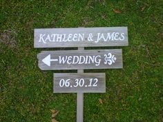 Directional Wedding Sign Wood Reception Sign 3 by TRUECONNECTION, $75.00
