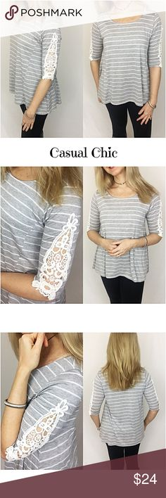 """Casual Chic Crochet Lace Striped Top SML Fun & flirty little gray striped jersey top with crochet lace detail on 3/4 sleeves. Casual & chic to pair with leggings, jeans or shorts. Soft & flowy 71% rayon 29% polyester.   Small Bust 32-34 Length 25"""" Medium Bust 36-38 Length 26"""" Large Bust 40-42 Length 27"""" Tops"""