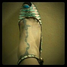 Betsey Johnson Heels Sequins teal, cream & brown zebra print beauties; straps around the ankle with heart shaped fastener. Worn a few times. Dope footwear. Betsey Johnson Shoes Heels