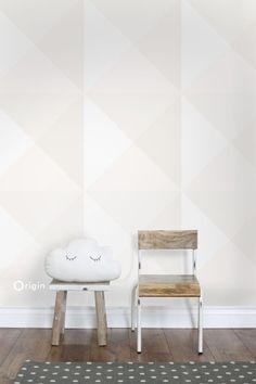 347495 lijmdruk vlies behang grote grafische driehoek licht crème beige en mat wit