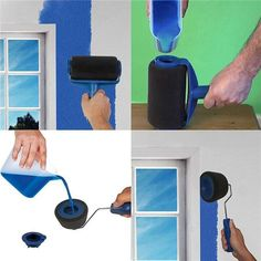 Paint Brush Roller Set - No Drip Design Makes Painting Easy! - Unlike traditional paint rollers, our amazing Paint Brush Roller Set doesn't require any prep tim - Painting Door Frames, Painting Tools, Diy Painting, Painting Metal, House Painting, Paint Runner, Kit Pintura, Broom Handle, Paint Your House