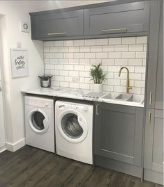 Beautiful utility room from we love the grey colour! If you have the space then it's a great idea to have a utility room as it keeps all the washing in one room! Boot Room Utility, Small Utility Room, Utility Room Designs, Utility Cupboard, Country Laundry Rooms, Modern Laundry Rooms, Farmhouse Laundry Room, Laundry Room Design, Small Downstairs Toilet