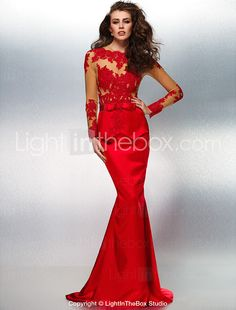 Formal Evening Dress - Ruby Trumpet/Mermaid Jewel Sweep/Brush Train Lace/Stretch Satin 2015 – $151.99