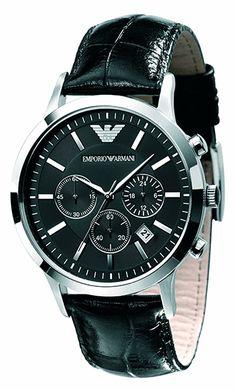 Emporio Armani Montre Homme - Quartz Chronographe - Cadran en Acier inoxydable Argent - Bracelet en Cuir Noir - AR2447