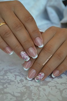 Glitter French Manicure, French Nails, Nail Manicure, Winter Nail Designs, Simple Nail Designs, Nail Art Designs, Silver Nails, Pink Nails, Finger