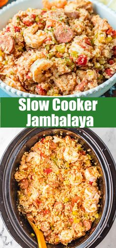 Slow Cooker Jambalaya - This Jambalaya is a Creole rice dish made with shrimp, andouille sausage, chicken and vegetables. A hint of spice and so much flavor, this dish is cooked in a slow cooker for an easy dinner.