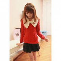 $11.11 Sweet Large Bow Neckline Twist Wave Long Sleeve Sweater for Women