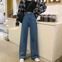 Vintage Outfits, Retro Outfits, Cute Casual Outfits, Casual Jeans, Vintage Pants, Korean Casual Outfits, Vintage High Waisted Jeans, Outfits With Jeans, Cute Pants Outfits