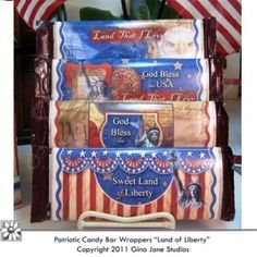 Printable Hershey Patriotic Candy Bar Wrappers - Do it yourself designs by -  Land of Liberty, Gof Bless the USA, Sweet Land of Liberty -- Hand made gifts for 4th of July, Flag Day, Memorial Day, Military, Veterans Day, Presidents Day - Gina Jane Designs - DAISIE