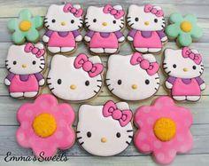 Hello Kitty Theme Party, Hello Kitty Themes, Hello Kitty Birthday, Hello Kitty Cookies, Hello Kitty Cake, 2nd Birthday Parties, Birthday Cake, Fancy Cookies, Cat Party