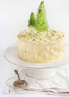 Coconut Cake with Whipped Lemon Cream Cheese Icing & Spun Sugar Christmas Trees by raspberri cupcakes, via Flickr