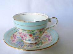 Aynsley-Floral-Chintz-Bone-China-Cup-amp-Saucer-Set