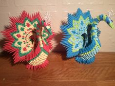3d origami peacock by akvees on Etsy, $30.00