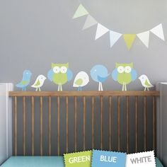 Kids Wall Decal, Nursery Decal and Wall Decal for Childrens Rooms. Birds and Owls Children Wall Decal