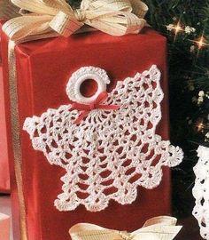 Adornos de Navidad: Ángeles de ganchillo - Ángel de ganchillo para adornar los paquetes navideños