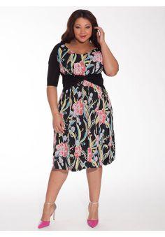 Janus Dress in Hot Floral   Plus Size Work Dresses  