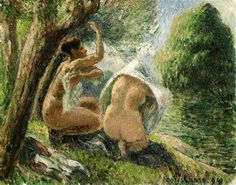 Bathers 3 - Artwork by Camille Pissarro