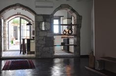 Dinning Room, Stone Arches, Solid Wood Shelfs, Rustic, Country, Epoxy Flooring, Old Stone Houses, Epoxy Floor, Solid Wood, Arches, Kitchen Island, Shelves, Rustic, Country, Flooring
