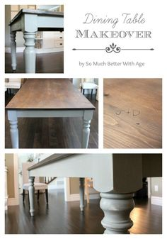 Dining Room Pine Table Makeover with Annie Sloan Chalk Paint and stained table top. Dining Table Makeover, Dining, Dining Table, Table Makeover, Stained Table, Furniture Makeover, Kitchen Table Makeover, Dinning Room Tables, Dining Room Table Makeover