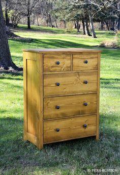 Rustic 5 Drawer Bedroom Dresser by PennRustics on Etsy