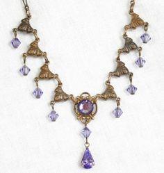 Tanzanite Swarovski Crystal Necklace Victorian Jewelry
