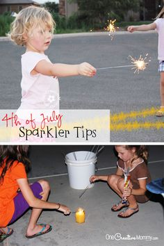 4th of July Sparkler Tips--Have a fun and safe holiday! {OneCreativeMommy.com} #4thofJuly #FourthofJuly
