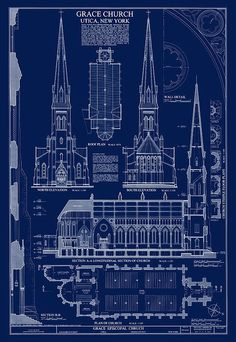 Grace Church Blueprint Print By Daniel Hagerman