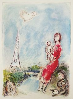 Marc Chagall -  Maternite rouge, 1981 offset lithograph from Catalogue Raisonne issue #141 15 x 11.25 inches