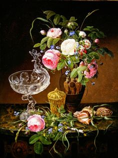 Still life with roses and shells, 1846 by Christine Lovmand